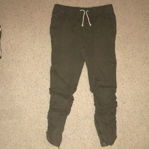 H&M Jogger w/ ankle zippers - Dark Olive